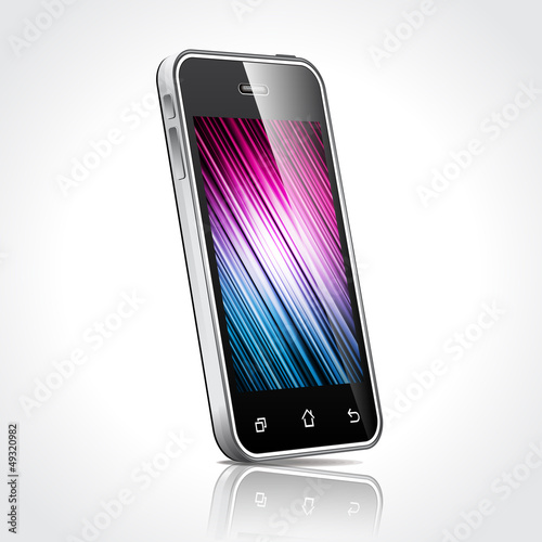Vector technology illustration with shiny mobile phone devices