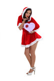 foxy mother Christmas with box in shape of heart