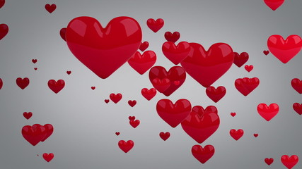 red hearts loopable background