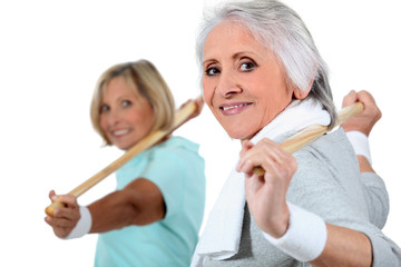 portrait of two women doing exercise