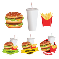 Fast food burger, fries and drink with 3 menu labels