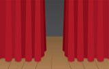 Red curtain slightly opened on wooden stage