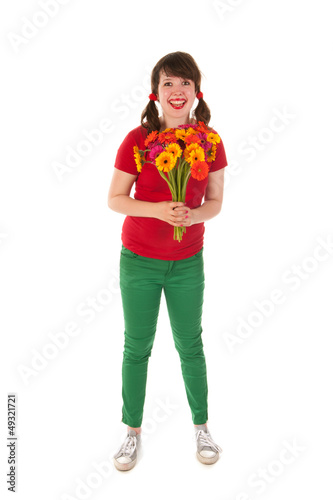 Young girl happy with flowers