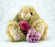 Bunny with pink rose and heart.