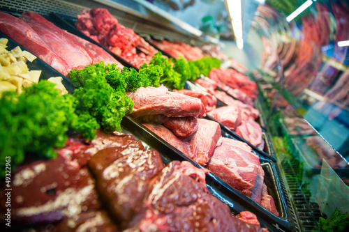 Fresh meat at the butcher