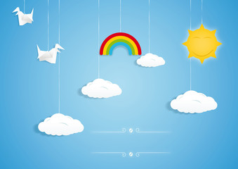 Rainbow, clouds, birds and sun toys