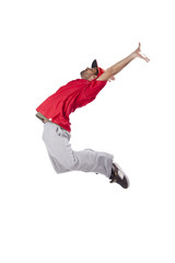 hip hop dancer performing move isolated over white background