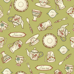 Seamless pattern with porcelain
