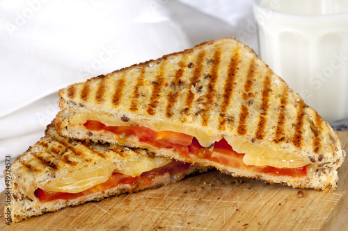 Grilled Sandwich and Milk