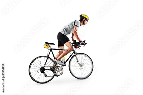Male bicyclist riding a bike