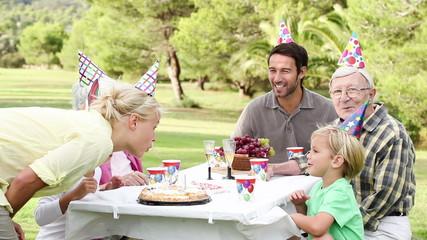 Family celebrating a birthday