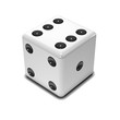 One white dice on white background