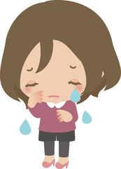 静かに泣いている若い女性