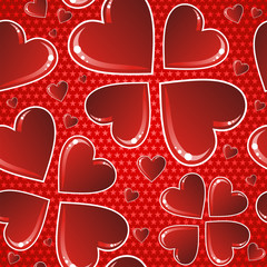 Valentine red glossy heart pattern