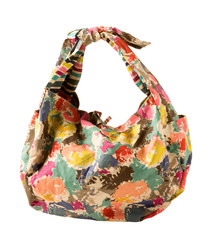 Vintage abstract flowers print purse