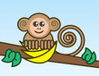 Cartoon monkey on a branch holding bananas