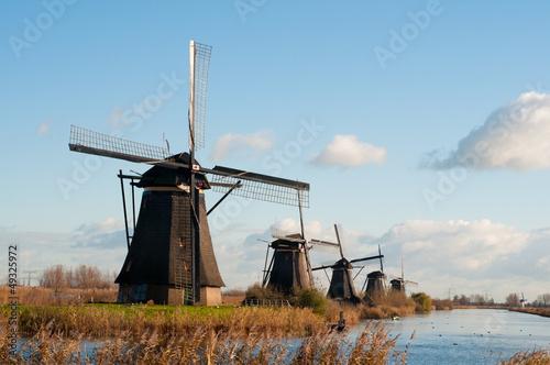 Traditional dutch windmills in the Netherlands in Kinderdijk