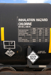Handling Railroad Emerg. Chlorine rail road tank markings