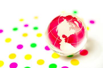 ピンクのガラスの地球