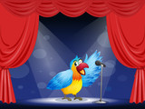 A colorful parrot at the center of the stage