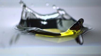 Yellow block falling in water