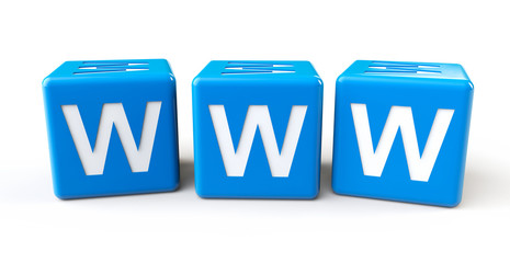 Blue cubes with www letters