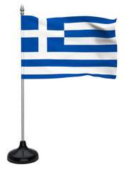 Flag of Greece with flagpole