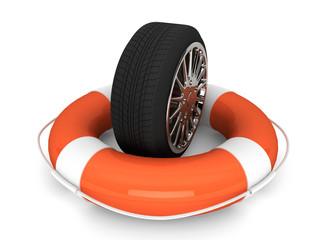 Lifebuoy with wheel tyre
