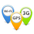 Wi-Fi, 3G and GPS Icons