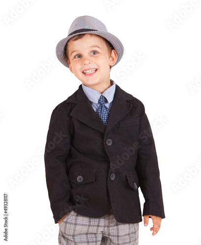 Cool stylish boy isolated on white. Clipping paths