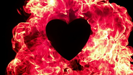 Red flame of fire burning around a heart