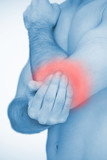 Man touching highlighted red elbow pain
