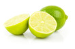 Fresh green limes. Isolated on white