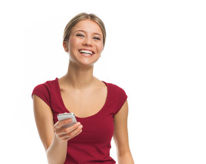Cheerful young woman with phone