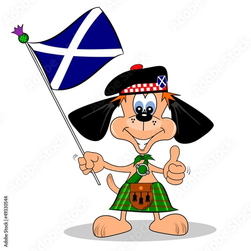 Cartoon dog in a kilt with falg of Scotland