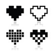 Pixel heart vector icons set - love, dating online concept