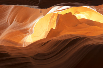 Antelope Canyon view with light rays