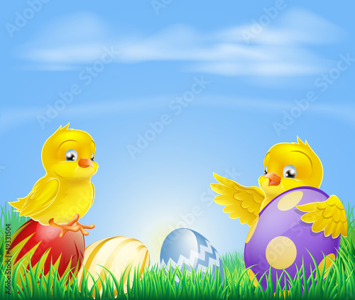 Chickens and Easter eggs Background