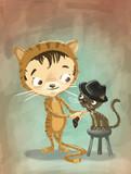 niño y gato disfrazados poster