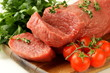 fresh raw beef meat on cutting board