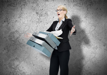 Woman dropping her workload