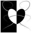 Abstract love and heart black and white