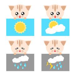 Paper cat weather icon illustration