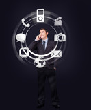 Businessman on the phone looking at wheel of applications light up