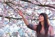 junge frau unter kirschblüten