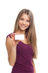 Pretty woman showing blank visit card