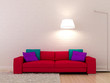 Pink sofa against a white wall