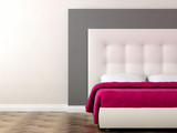 Fototapety Bed with pink blanket