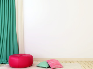 Pink ottoman and curtains