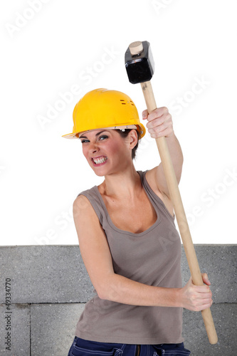 Bricklayer  holding hammer